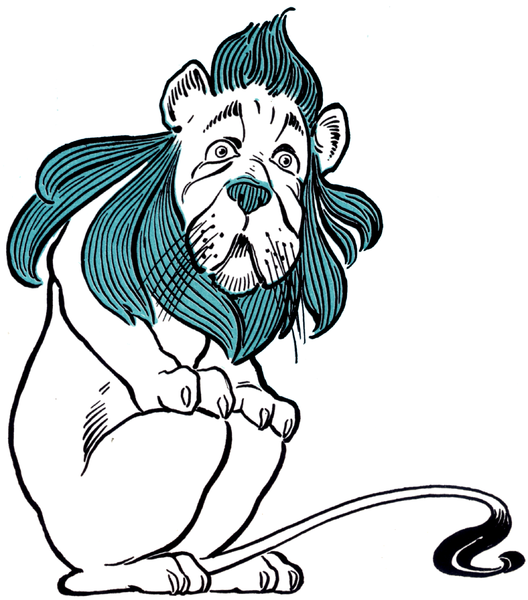The Cowardly Lion by as seen in The Wonderful Wizard of Oz by L. Frank Baum (1900), from Wikipedia