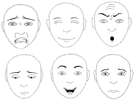 Expression of Emotions, compilation of faces by Barry Langdon-Lassagne, at Wikimedia