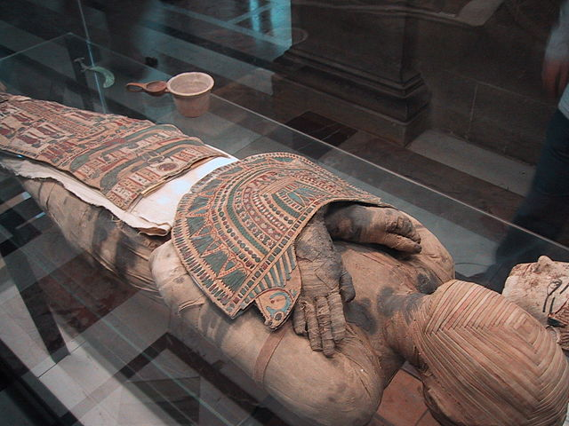 Egyptian Mummy, Third Century, from Louvre Museum, by Zubro Copyright © 2002, at Wikimedia (http://commons.wikimedia.org/wiki/File:Mummy_Louvre.jpg)