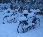 Bicycles in Snow, near University of Graz, Austria. Photo by Dr. Marcus Gossler, on Wikimedia.