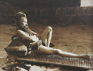 Fakir on bed of nails (1907), from Wikimedia
