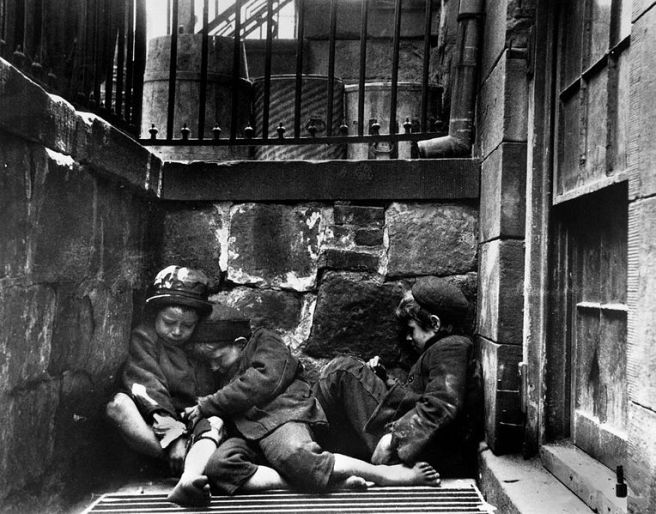 "Homeless Children (""Children sleeping in Mulberry Street - Jacob Riis photo New York, United States of America (1890)"" from Wikipedia"
