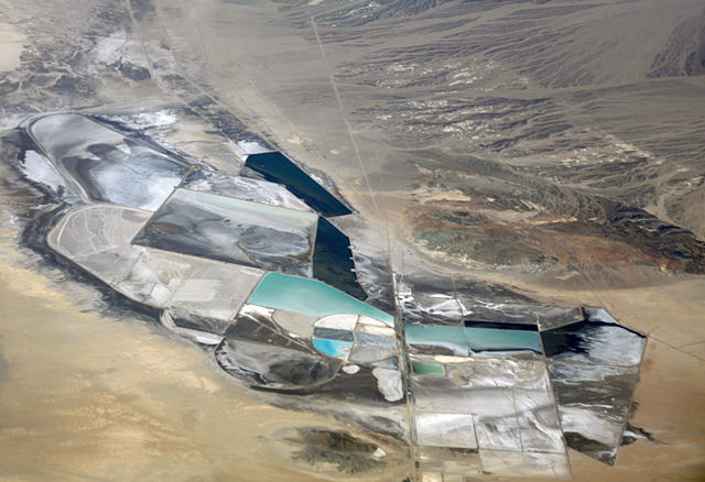 Lithium mining operation in Clayton Valley, Nevada, by Doc Searls, at Wikimedia