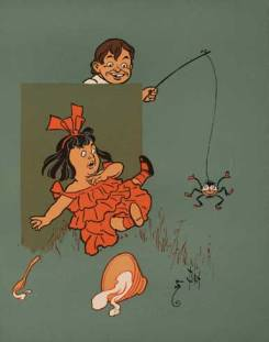 Little Miss Muffet showing panic, from Wikimedia, PD-US