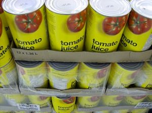 Cans of Tomato Juice, from Michael Francis McCarthy at Flickr & Wikimedia
